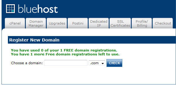 BlueHost Domain Coupon