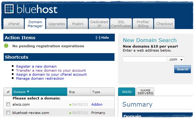 BlueHost Domain Manager