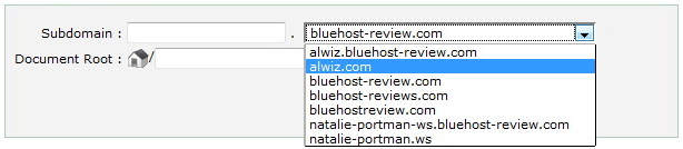 BlueHost Subdomain