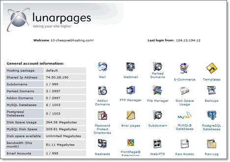 LunarPages CPanel
